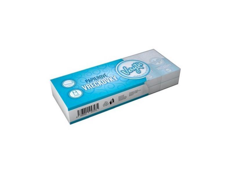 Hygienické vreckovky 3-vrstvové, biele, Verytis  10 ks x 10 bal