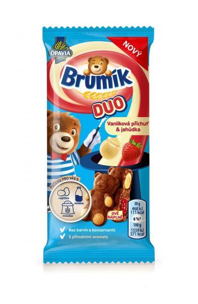 BeBe Brumík Duo vanilka a jahoda 30g Opavia