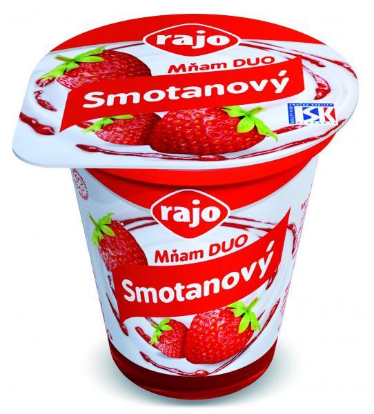 Jogurt Rajo Mňam DUO Smotanový jahoda 145g