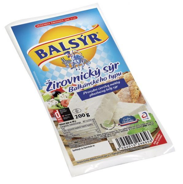 BALSÝR Syr balkánskeho typu tuk v sušine 45% chlad. 200 g VB