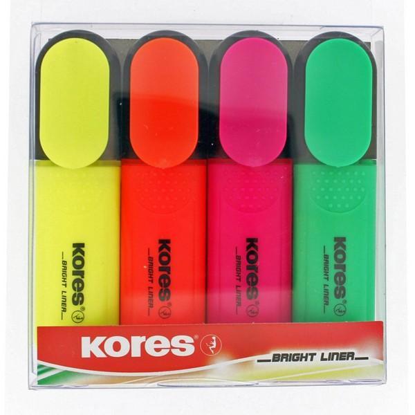 Zvýrazňovače Kores sada, 4 farby 1-5 mm